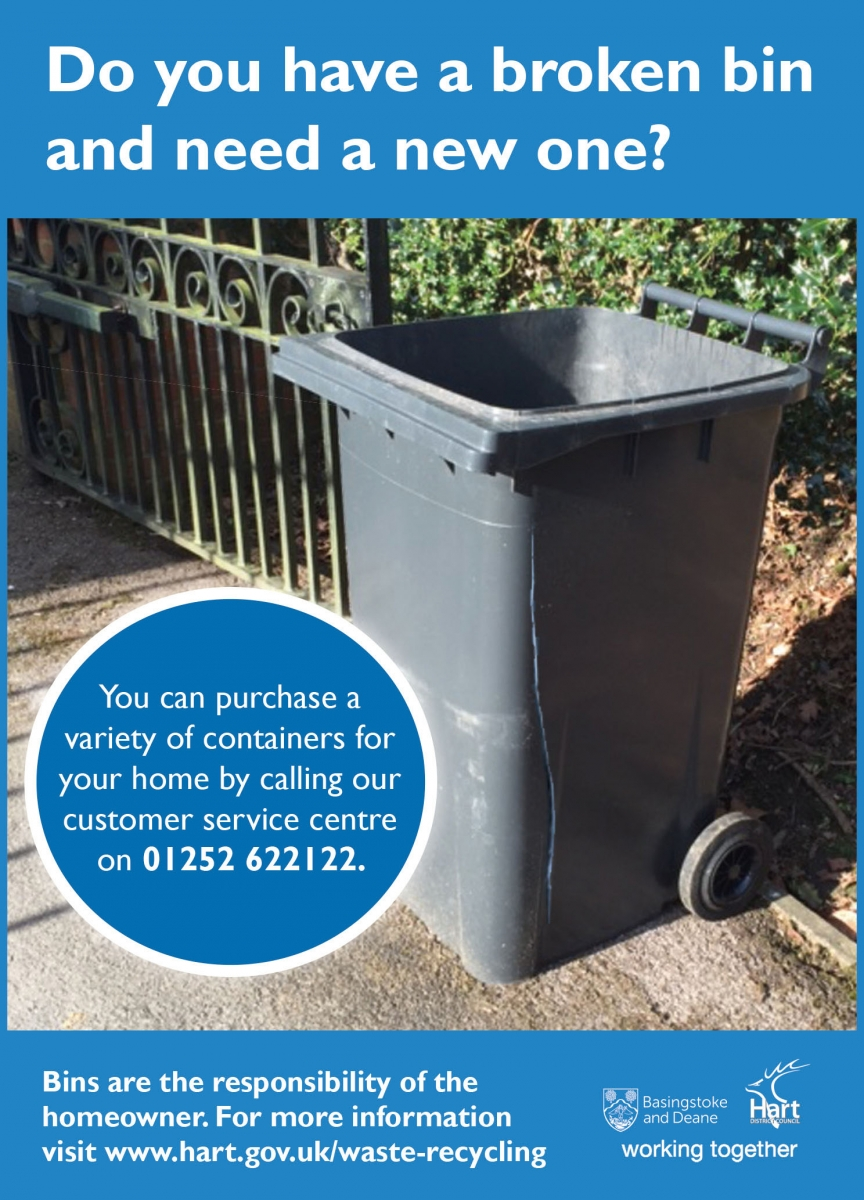Broken bins advert. To order a bin please call 01252 622122