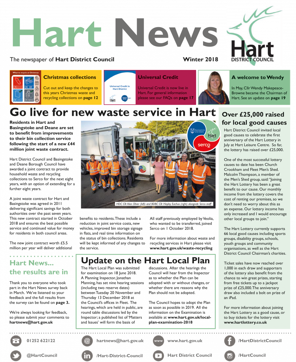 Front page of Hart News winter 2018