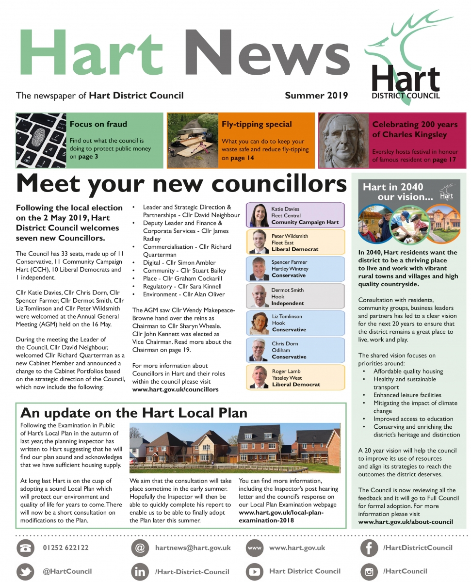 Front page of Hart News summer 2019