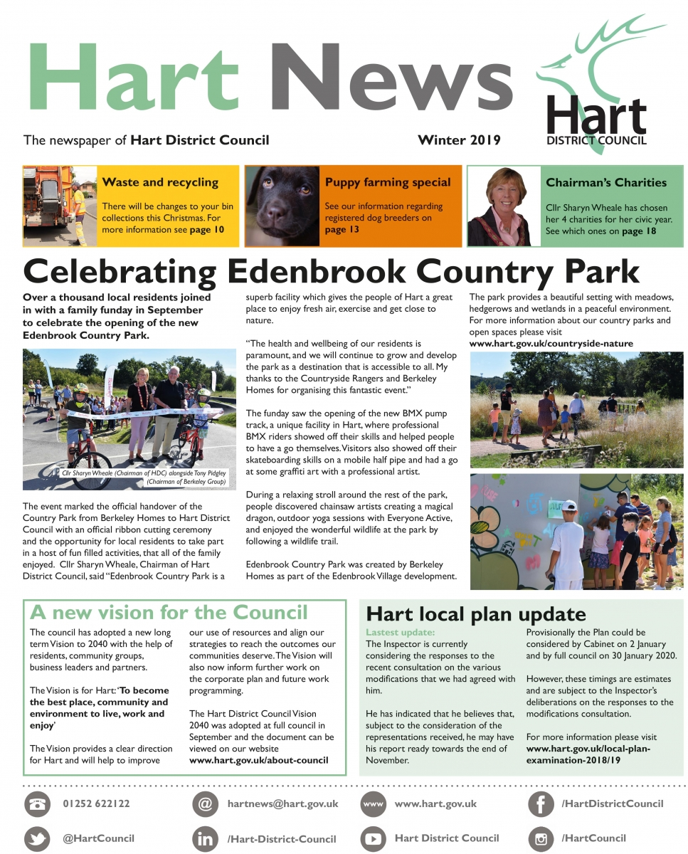 Front page of Hart News winter 2019