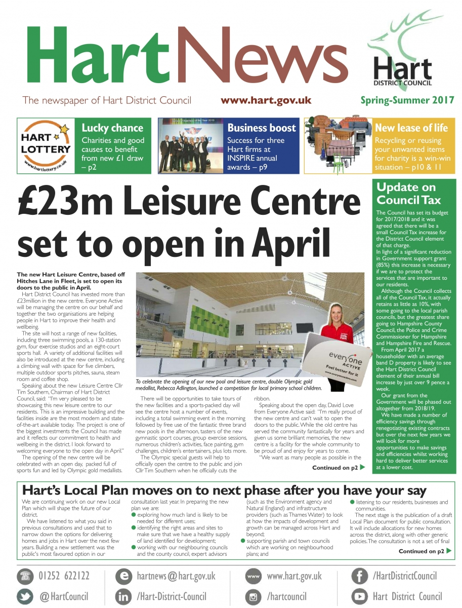 Front page of Hart News spring/summer 2017