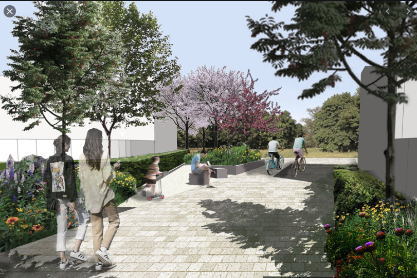 CGI - New walking and cycling route through a housing development